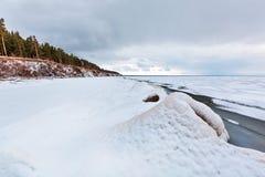 Ijspiramide op de rivier De Ob-Rivier, Siberië Stock Afbeelding