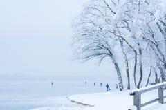 Ijsschaatsers op een Bevroren Meer Stock Foto's