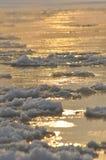 Ijsschol stromende rivier Het midden van de winter Het rivierbed Lage temperaturen in ijzige dag Stock Afbeeldingen