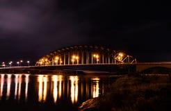 IJsselbrug por noche Foto de archivo libre de regalías