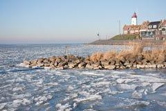 IJssellake congelato in Olanda Immagini Stock Libere da Diritti