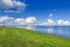 Skegrace on the IJsselmeer with Frisian Skutsjes. IJsselmeer, City of Hindeloopen, province Friesland, Netherlands, September 3, 2017: Skegrace with traditional Royalty Free Stock Images