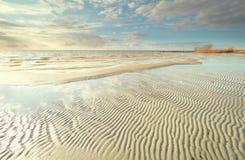 Ijsselmeer lake coast at low tide Stock Photography