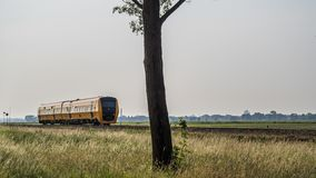 Dutch diesel train between Kampen and Zwolle royalty free stock image