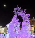 Ijsstad met beeldhouwwerken in Yekaterinburg-stad, 2016 Royalty-vrije Stock Afbeeldingen