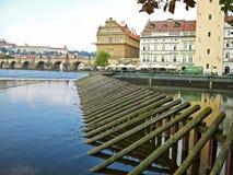 Ijswacht in Vltava-Rivier Stock Fotografie