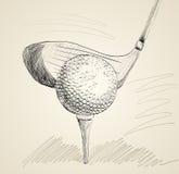 Ijzer dat golfbal in motie raakt Royalty-vrije Stock Fotografie