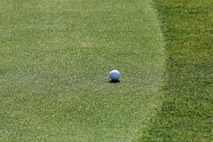 Ijzer dat golfbal in motie raakt Stock Foto's