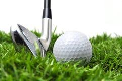 Ijzer en golfbal Stock Fotografie