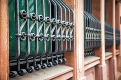 Ijzer Rusty Window Fence Royalty-vrije Stock Fotografie