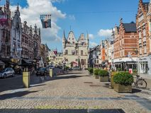 The Ijzerenleen, one of Mechelen`smain shopping streets stock images