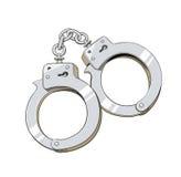 Ijzerhandcuffs voor misdadiger Stock Fotografie