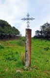 Ijzerkruis in Mozarabic Camino DE Santiago, Cerro Muriano, Bergen van Cordoba, Spanje Stock Afbeelding