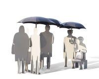 Ijzermensen die onder ijzerparaplu's op een bus wachten Royalty-vrije Stock Foto's