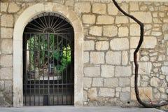 Ijzerpoort in oude steenmuur royalty-vrije stock afbeeldingen