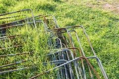Ijzerstapel op het gras Royalty-vrije Stock Foto