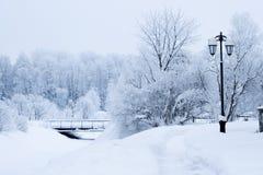 Ijzig de straatlandschap van de winter royalty-vrije stock afbeelding