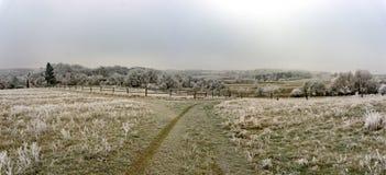 Ijzig de winterlandschap stock foto