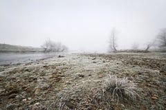 Ijzig en mistig horizontaal de winterlandschap - Stock Afbeeldingen