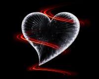 Ijzig hart in dark met vurige golven stock illustratie
