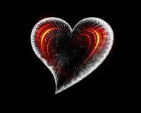 Ijzig hart met vurige golven stock illustratie