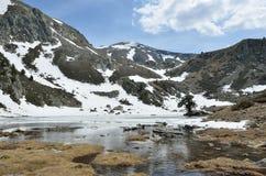 Ijzig meer in de vallei madriu-Perafita-Claror Royalty-vrije Stock Afbeeldingen