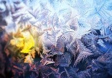 Ijzig natuurlijk patroon op de winterglas stock fotografie