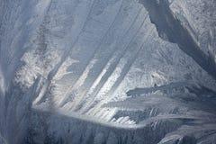 Ijzig natuurlijk patroon op de wintervenster Stock Afbeeldingen