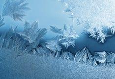 Ijzig natuurlijk patroon op de wintervenster Stock Afbeelding