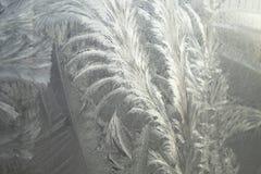 Ijzig patroon bij een glas van het de wintervenster Het patroon van het ijs op venster stock afbeeldingen