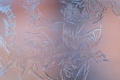 Ijzig patroon op glas Stock Fotografie