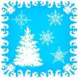 Ijzig patroon op glas, boom vorst-Rimed en sneeuwvlokken Royalty-vrije Stock Fotografie