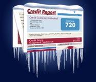 Ijzig, sneeuw behandeld kredietrapport in een sneeuwstorm illustreert het idee van het bevriezen van uw kredietrapport Dit is een royalty-vrije illustratie