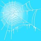 Ijzig spinneweb op blauwe achtergrond Vector illustratie vector illustratie