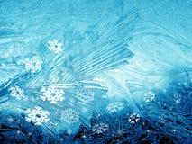 Ijzige achtergrond met sneeuwvlokken Stock Afbeeldingen