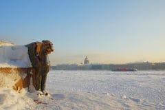 Ijzige dag in St. Petersburg stock foto's