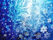 Ijzige glas en sneeuwvlokken Stock Afbeelding