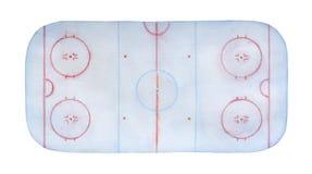 Ijzige ijshockeypiste watercolour met lijnen, tekens, cirkels, streken en posities stock afbeeldingen