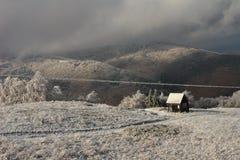 Ijzige ochtend in de bergen van de Karpaten Stock Afbeelding