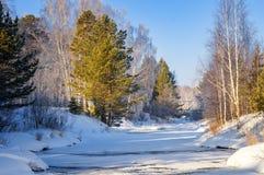 Ijzige ochtend in de lente in het bos van Oeralgebergte met een bevroren rivier, Rusland Royalty-vrije Stock Fotografie