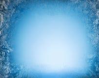 Ijzige patronen van bevroren venster Stock Fotografie