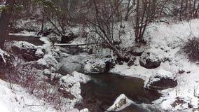 Ijzige Rivier door Bevroren Landschap stock videobeelden
