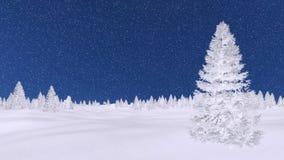 Ijzige sparren bij de nacht van de sneeuwvalwinter Royalty-vrije Stock Fotografie
