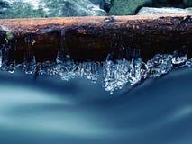 Ijzige takken boven het koelen stroom Bezinningen in ijskegels Royalty-vrije Stock Foto's
