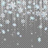 Ijzige van de de lichtstraallens van de wintersneeuwvlokken de gloedeffect sneeuwval Royalty-vrije Stock Afbeeldingen