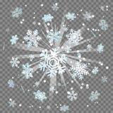 Ijzige van de de lichtstraallens van de wintersneeuwvlokken de gloedexplosie Stock Fotografie