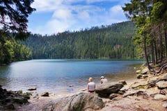 Ijzige Zwarte jezero van meercerne, Sumava-bergen, Zuid- Boheems Gebied, Tsjechische Republiek royalty-vrije stock foto's