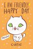 Ik ben de vriendschappelijke gelukkige vector van de de kattenillustratie van de dag cutie miauw royalty-vrije illustratie