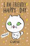 Ik ben de vriendschappelijke gelukkige vector van de de kattenillustratie van de dag cutie miauw vector illustratie