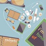 Ik ben dierbaar van gadgets Vectorreeks Vlakke zaken Stock Foto